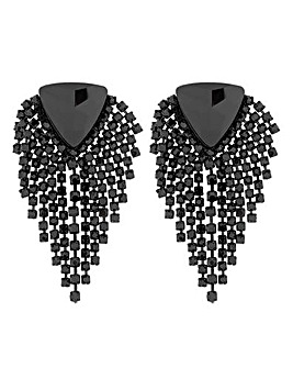Mood Jet Diamante Fringed Earring