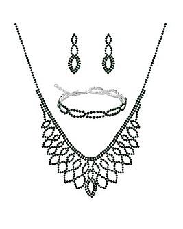 Mood Green Diamante Jewellery Set
