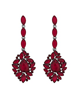 Mood Red Ornate Crystal Drop Earring
