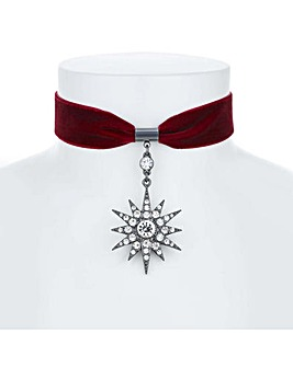 Mood Crystal Star Drop Velvet Choker
