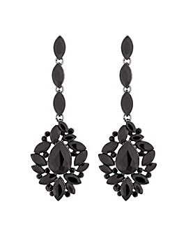Mood Jet Ornate Crystal Drop Earring