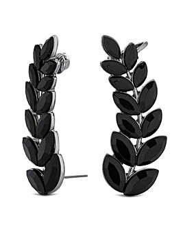 Mood Jet Crystal Leaf Ear Climber Set