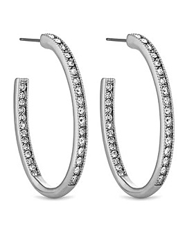 Jon Richard Pave Oval Hoop Earring