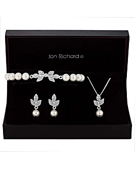 Jon Richard Crystal Leaf Jewellery Set