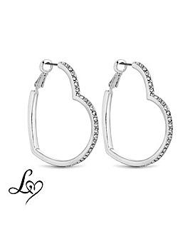 Lipsy Crystal Heart Hoop Earring