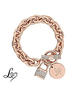 Lipsy Crystal Padlock Chain Bracelet