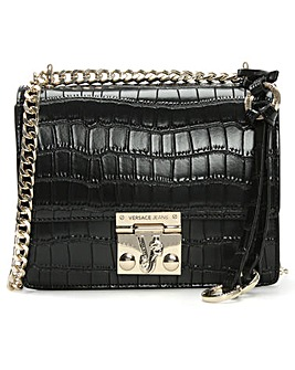 Versace Jeans Moc Croc Flap Shoulder Bag