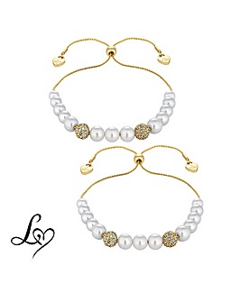 Lipsy Pearl Toggle Bracelet Set