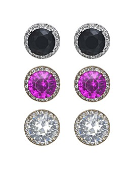 Mood Crystal Halo Stud Earring Set