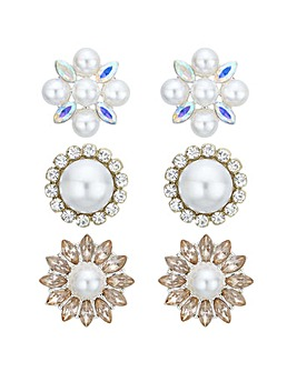 Mood Pearl And Crystal Earring Set