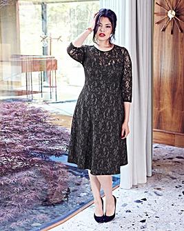 Anna Scholz Bonded Lace Skater Dress