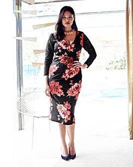 Anna Scholz Lace Trim Print Dress