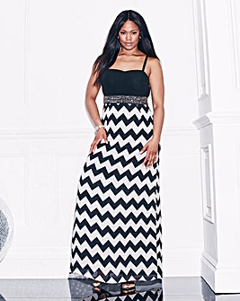 Lovedrobe Chevron Stud Trim Maxi Dress
