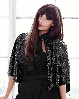 Jameela Jamil Sequin Cape