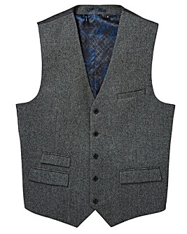 Black Label Pattern Tweed Waistcoat Long