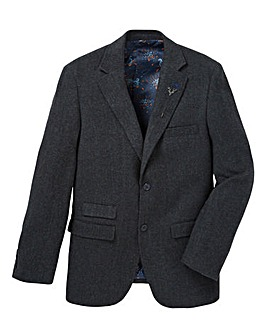 Black Label Herringbone Blazer Long