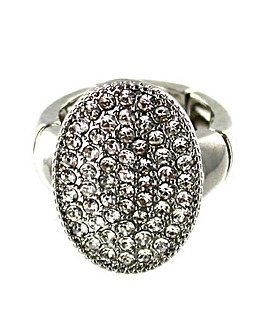 Diamante Oval Disc Ring