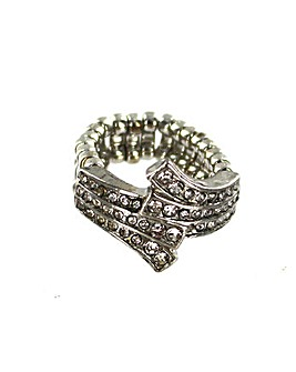 Diamante Encrusted Cross Over Ring
