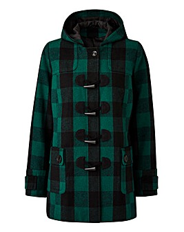 Green Check Duffle Coat Length 28ins