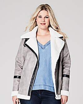 Faux Borg Trim Aviator Jacket