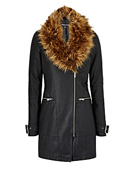 Faux Fur Trim Longline PU Jacket