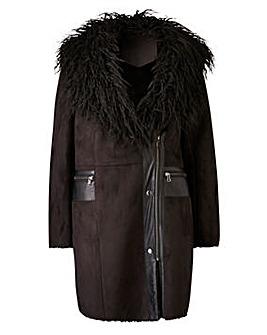 Joanna Hope Faux Fur Trim Coat