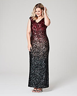 Joanna Hope Ombre Sequin Maxi Dress