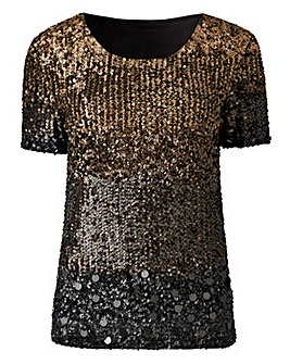 Joanna Hope Ombre Sequin Top