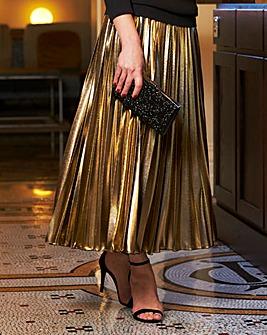 Joanna Hope Foil Pleated Midi Skirt
