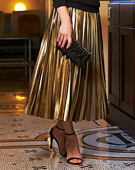 Joanna Hope Foil Pleated Midi Skirt