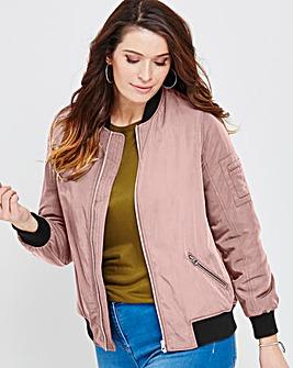 Pink Champagne Padded Bomber Jacket