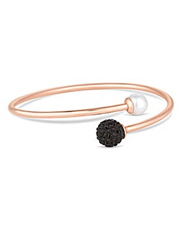 Simply Silver jet pave ball bangle