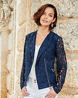Navy Lace Biker Jacket