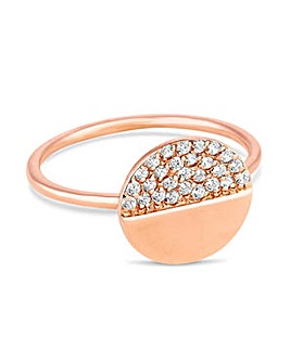 Simply Silver pave disc ring
