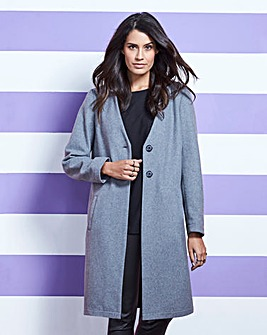 Collarless Casual Coat