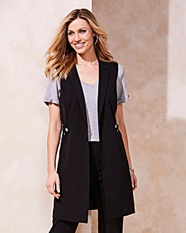 Tailored Sleeveless Buckle Detail Jacket