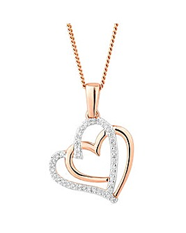 Simply Silver double heart necklace