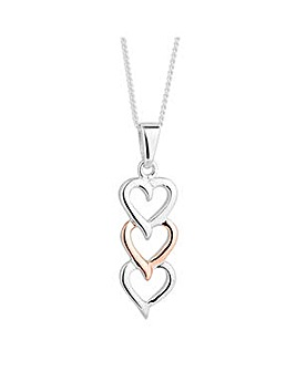 Simply Silver triple heart necklace