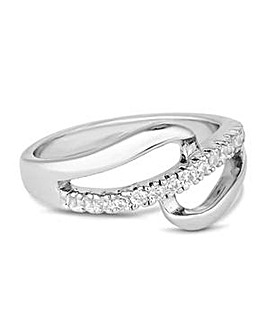 Jon Richard Silver open pave loop ring