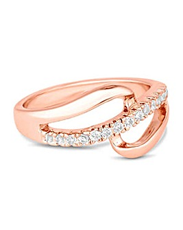 Jon Richard Rose gold open pave ring