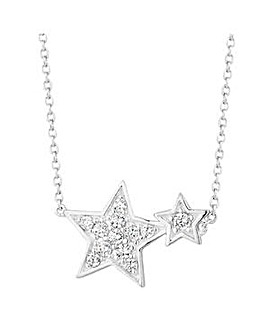 Simply Silver double star necklace