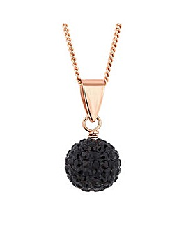 Simply Silver jet pave ball necklace