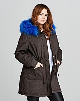 Value Parka With Cobalt Fur Trim