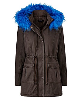 Value Parka With Cobalt Fur Trim