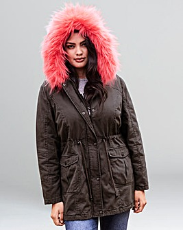 Value Parka With Pink Fur Trim