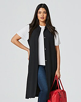 Sleeveless Longline Duster Bomber Jacket