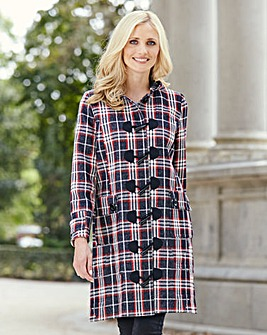 Navy/Red Check Duffle Coat Length 37in