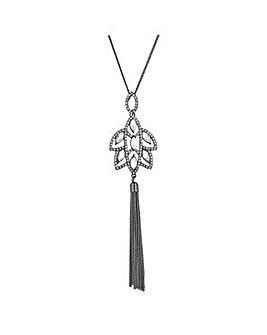 Jon Richard Silver floral long necklace