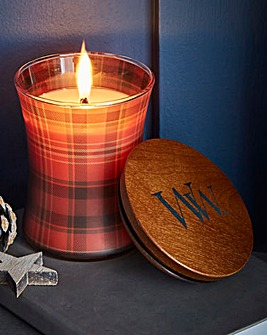 WoodWick Crimson Berries Plaid Candle