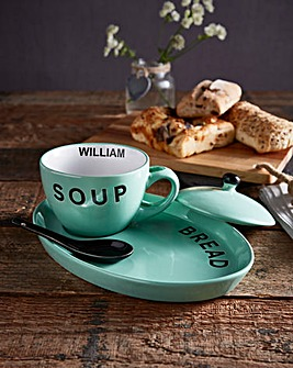 Personalised Soup Bowl & Bread Plate Set